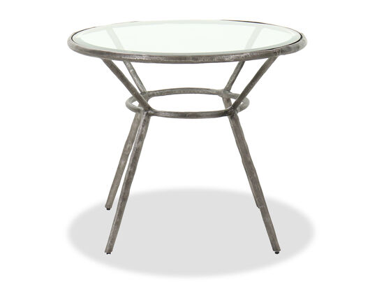 Casual Round Chairside Table in Antique Iron