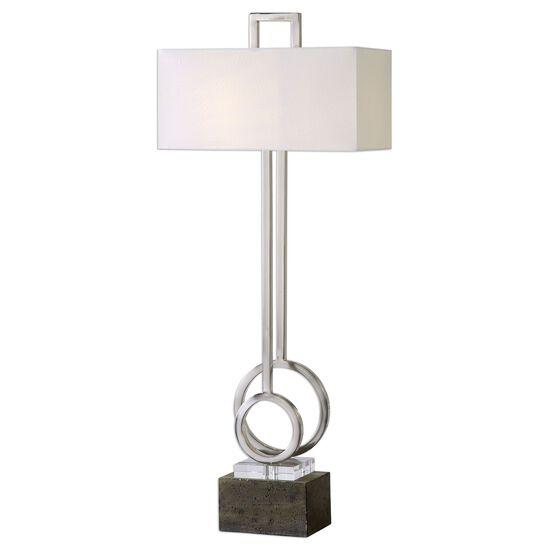 Crystal-Accented Hand-Forged Circle Table Lamp in Brushed Nickel