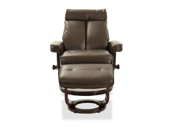 Leather Recliner Chair and Ottoman in Brown