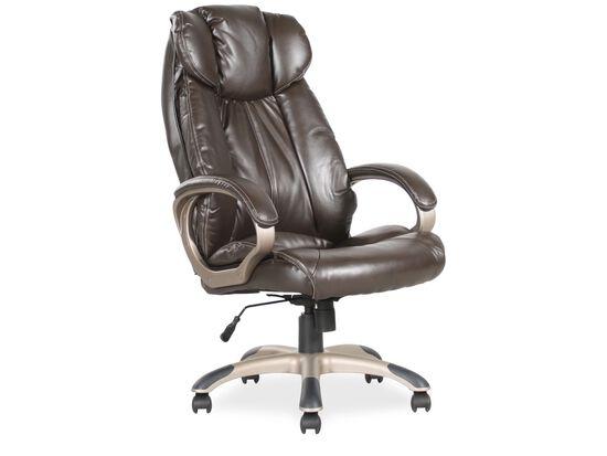 Pleated Leather Executive Swivel Tilt Chairin Brown