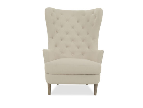 Button-Tufted Casual Accent Chair in Beige