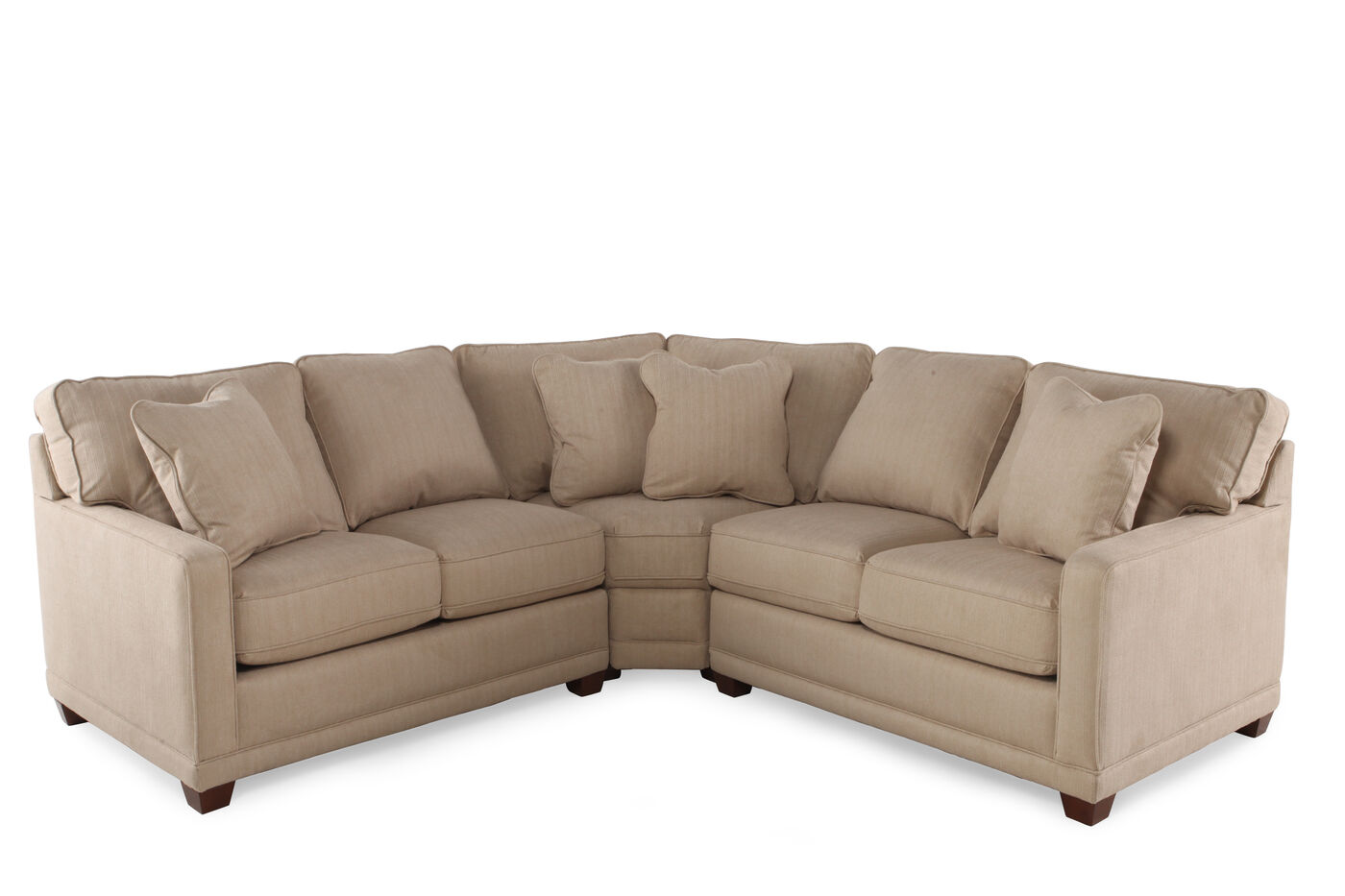Three piece traditional sectional in beige mathis for Traditional sectional