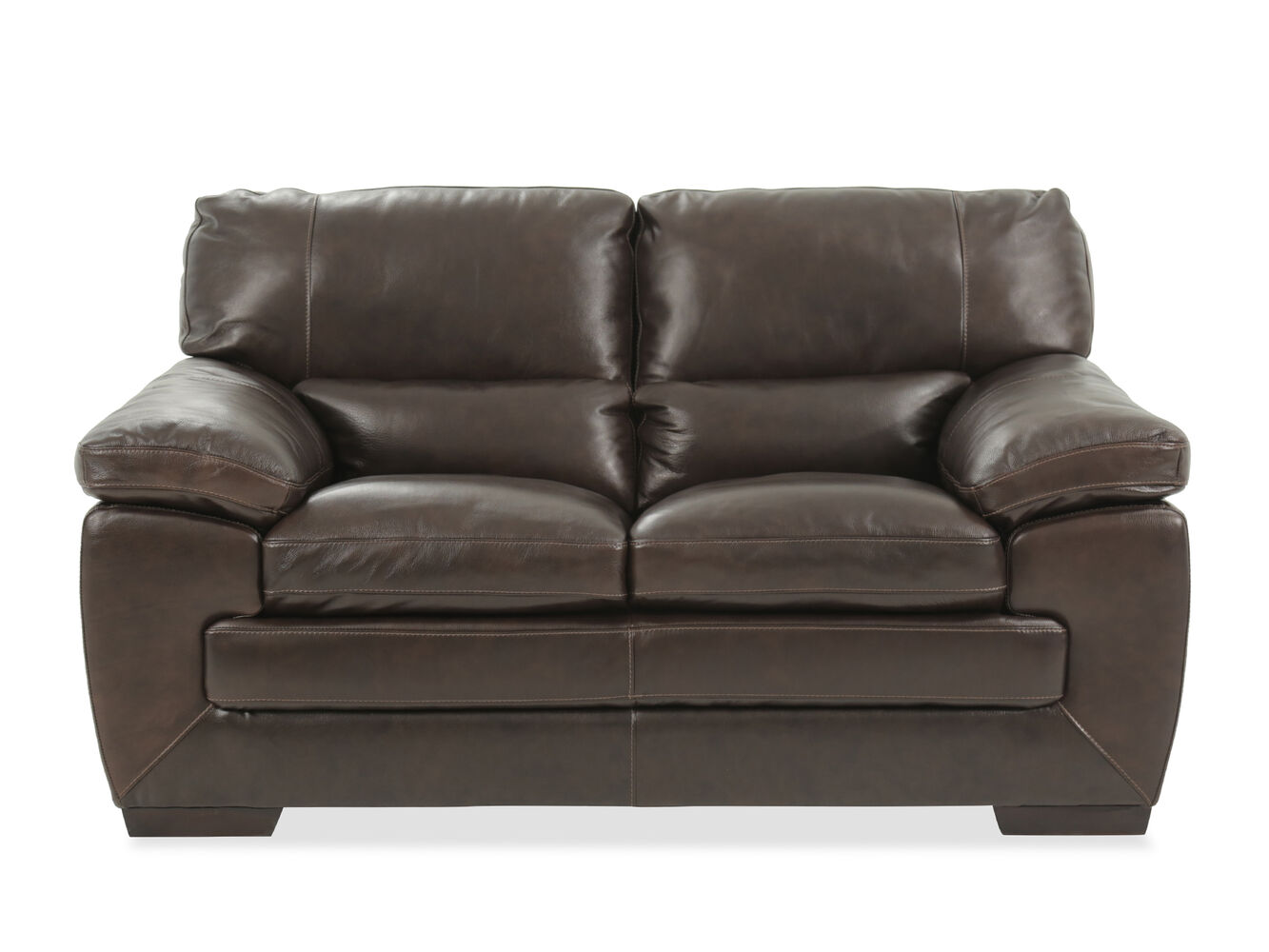 Traditional leather 65 loveseat in black oak mathis for Traditional loveseat
