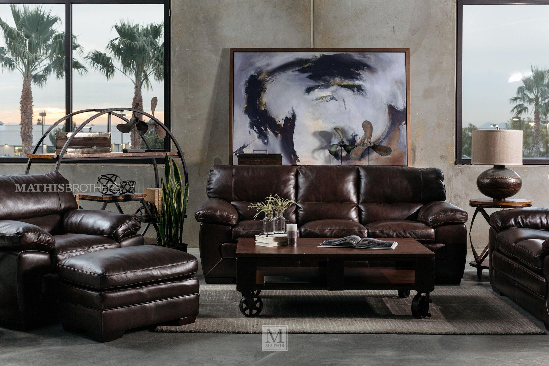 ... 87u0026quot; Leather Sofa In Dark ...