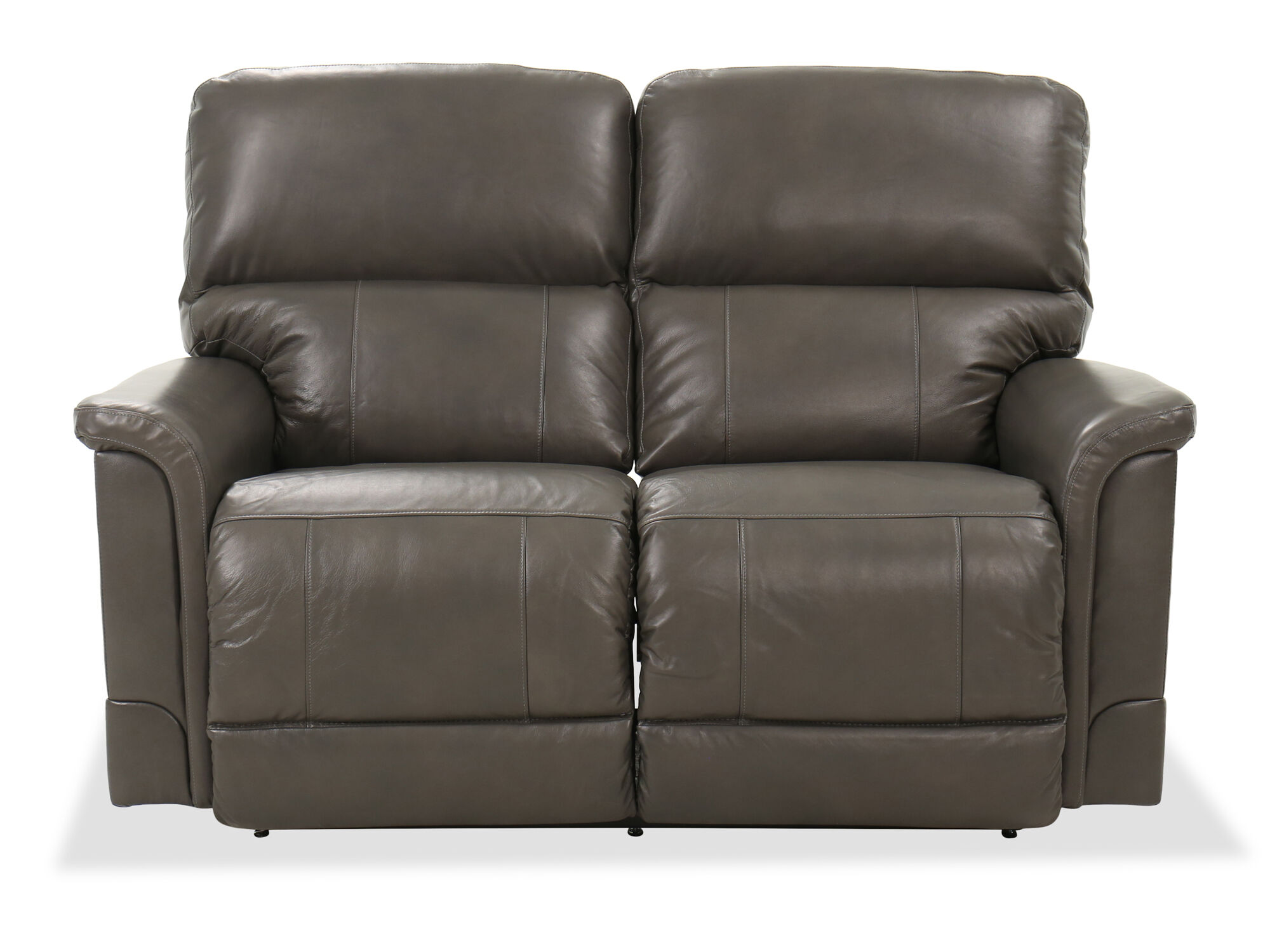 Leather 62 power reclining loveseat in gray mathis brothers furniture