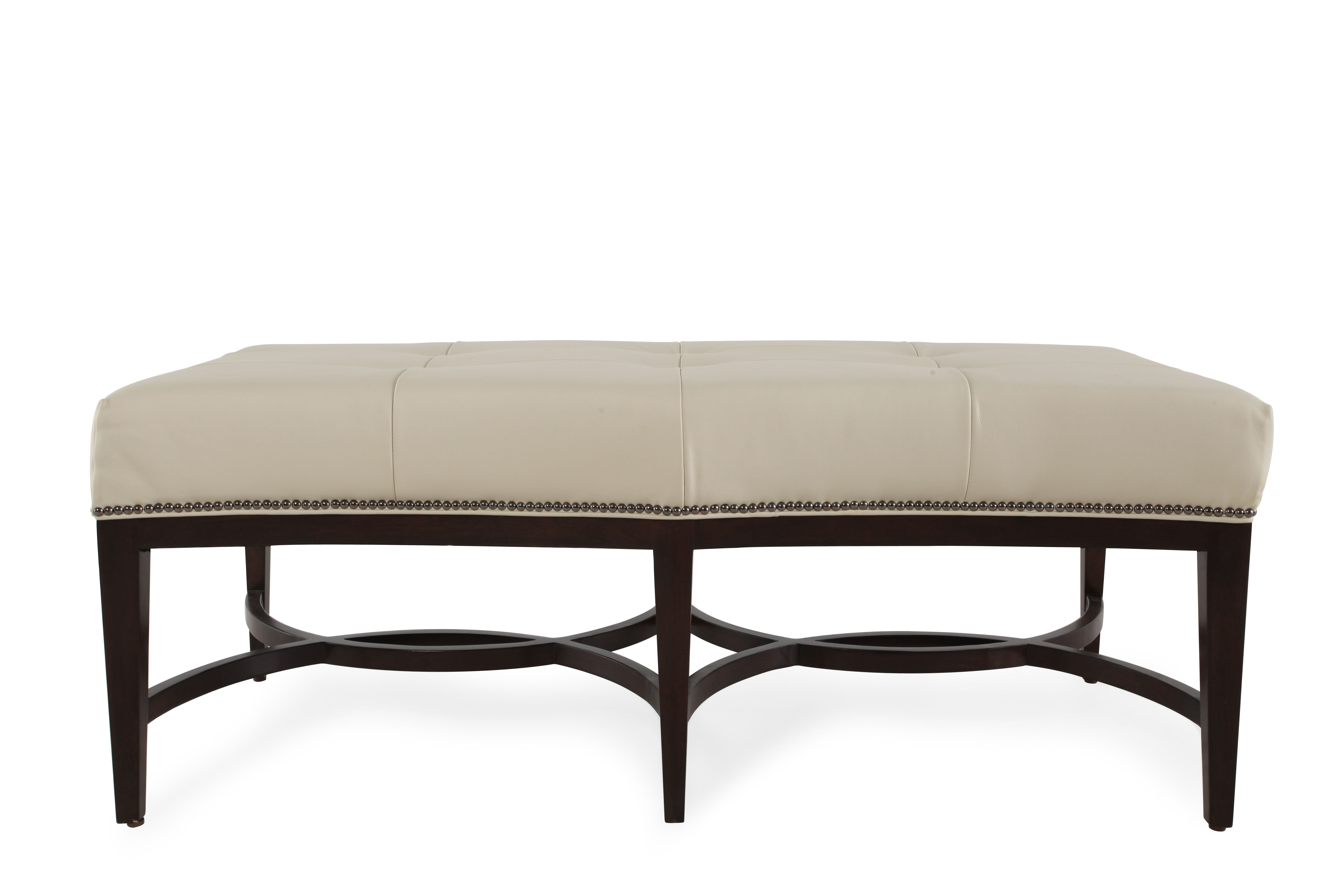 Leather 54.5u0026quot; Nailhead Trimmed Accent Bench ...