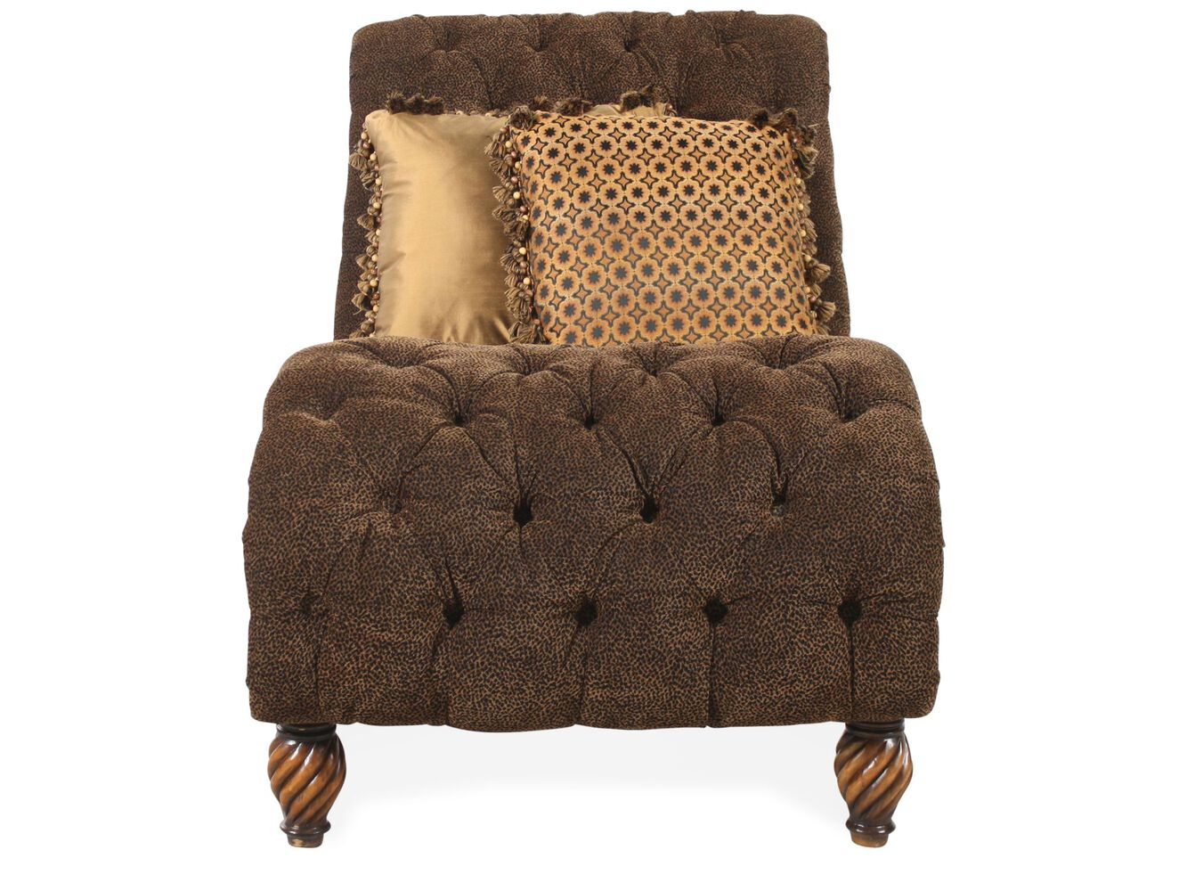 Images Animal Print Tufted Traditional Single Chaise Nbsp In Brown