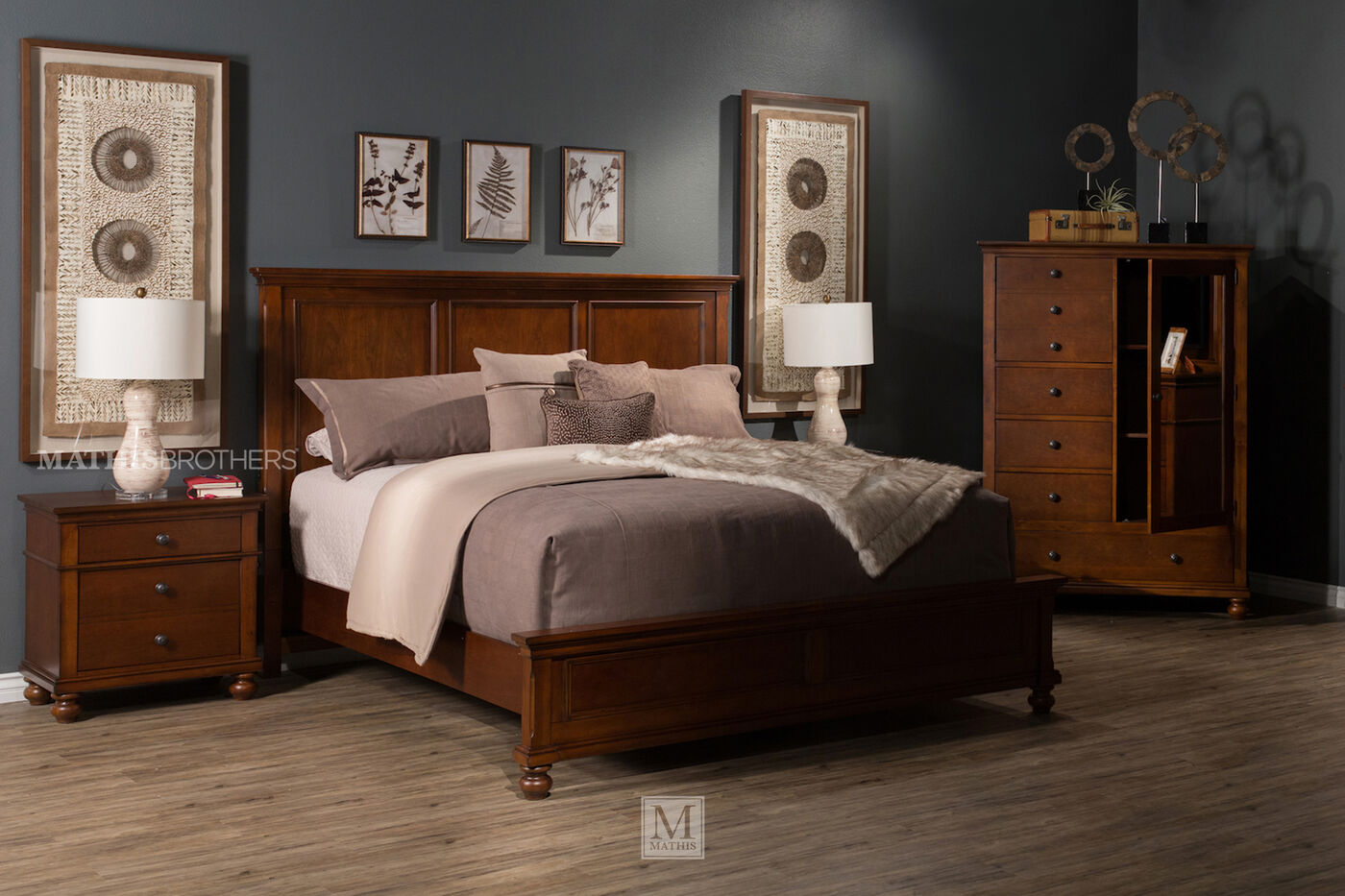 Three piece transitional bedroom set in whiskey brown for Bedroom 3 piece sets