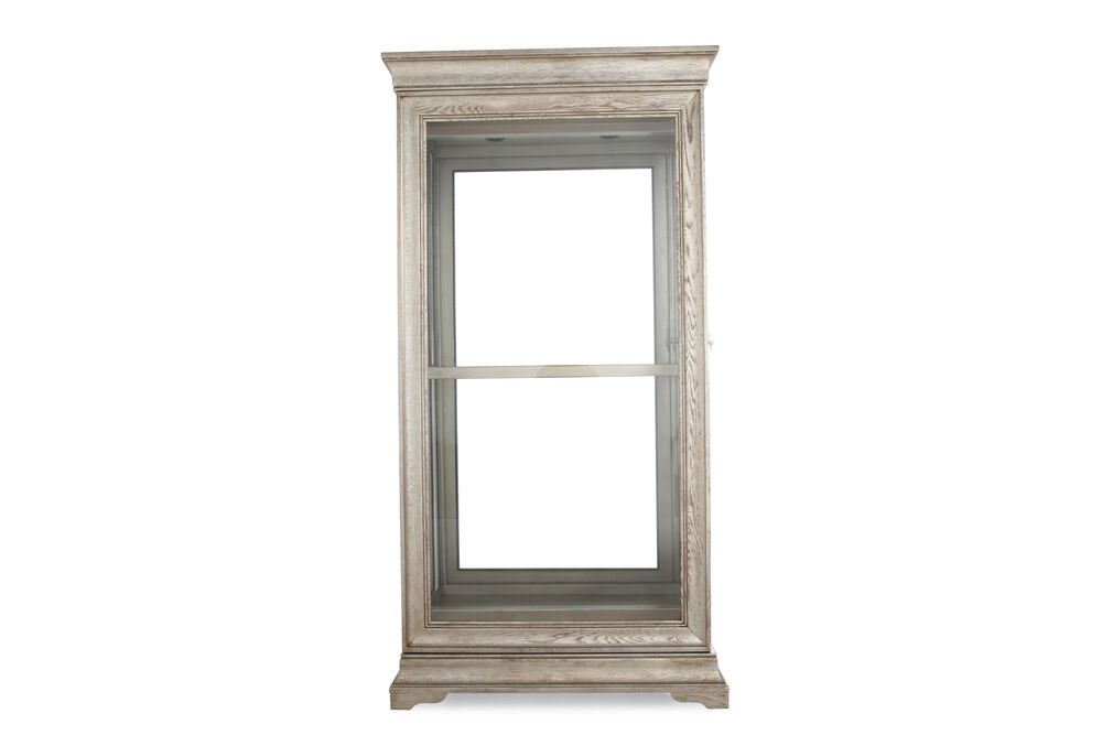 Contemporary Mirrored Back Curio in Washed Lyon