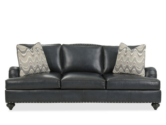 """Nailhead-Accented 93"""" Leather Sofa in Black"""