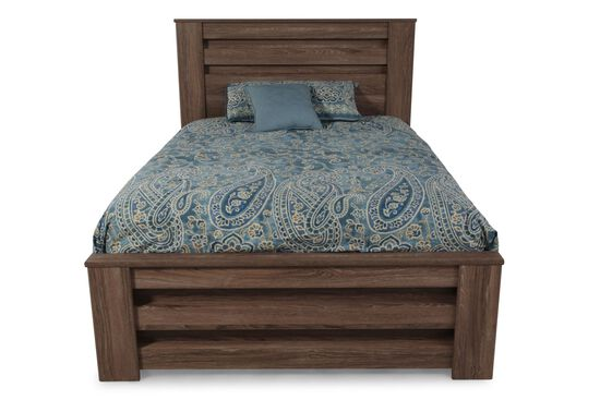 """54"""" Low-Profile Casual Planked Queen Poster Bed in Chestnut"""