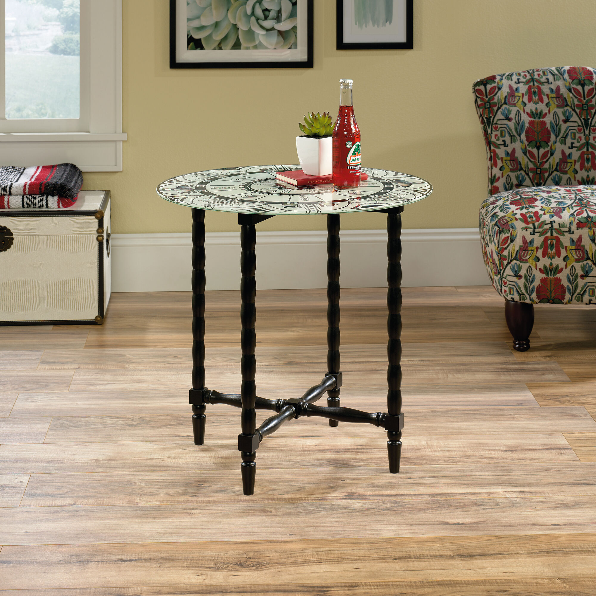 Turned-Leg Solid Wood Side Table In Black