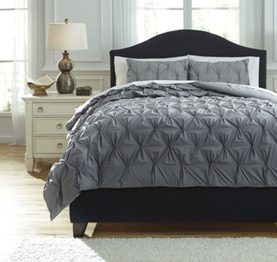Three-Piece Quilted Queen Comforter Set in Gray