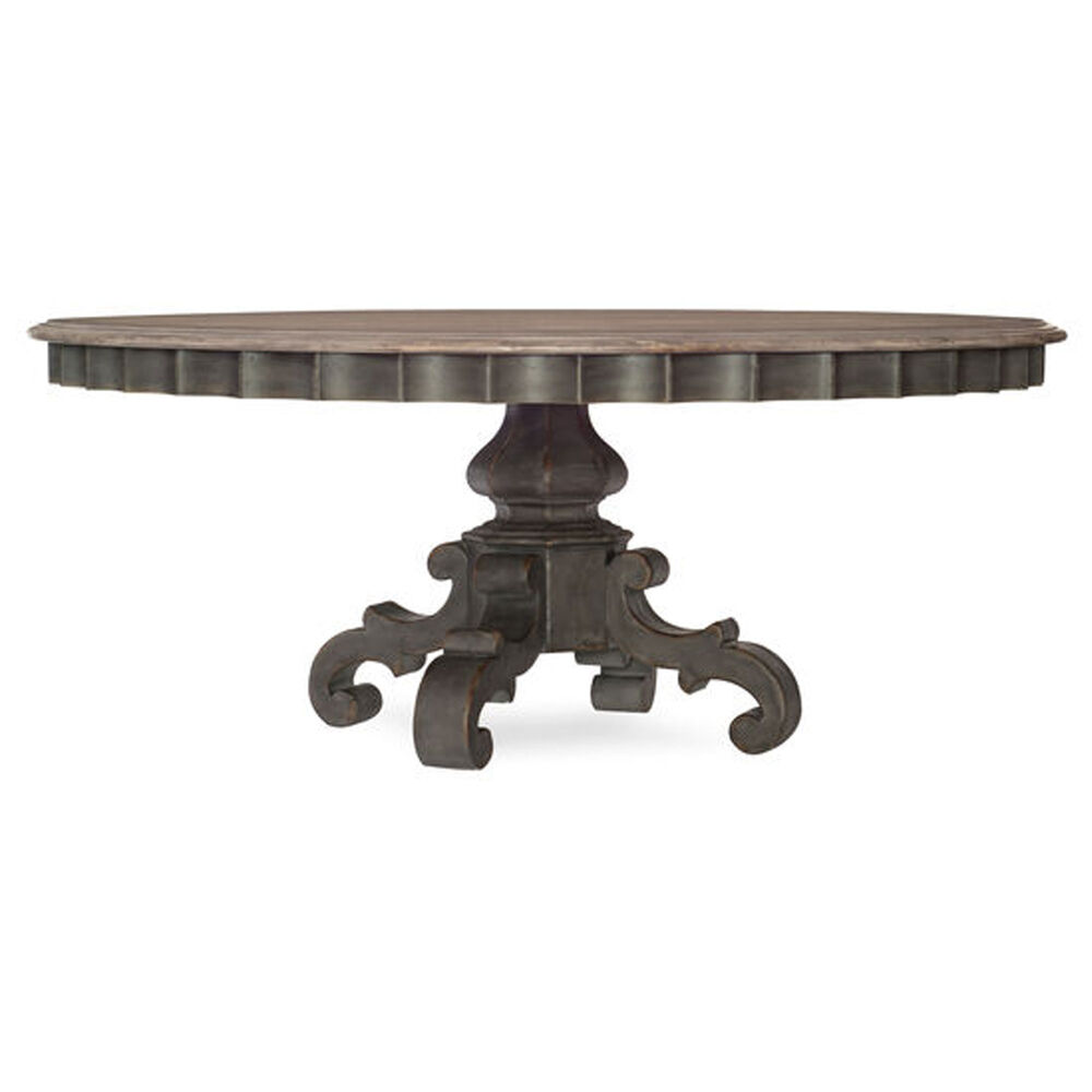 """Arabella 72"""" Round Pedestal Dining Table in Gray"""
