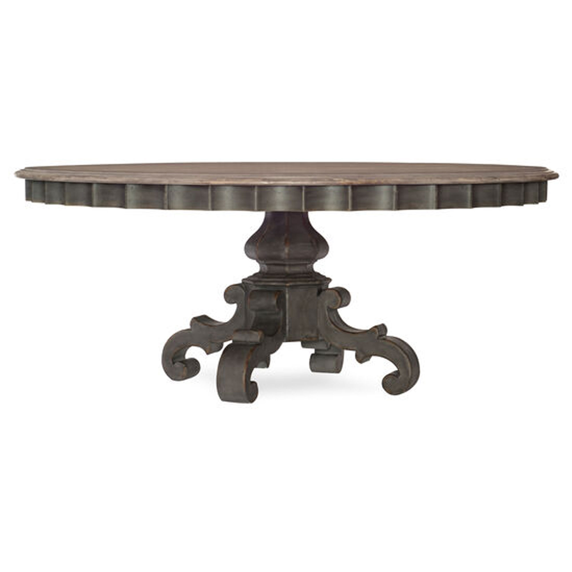 Arabella 72 Round Pedestal Dining Table In Gray Mathis Brothers Furniture