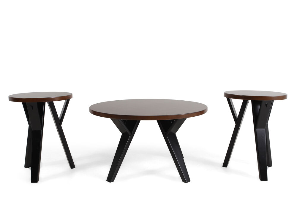 Three-Piece Round Contemporary Table Set in Brown