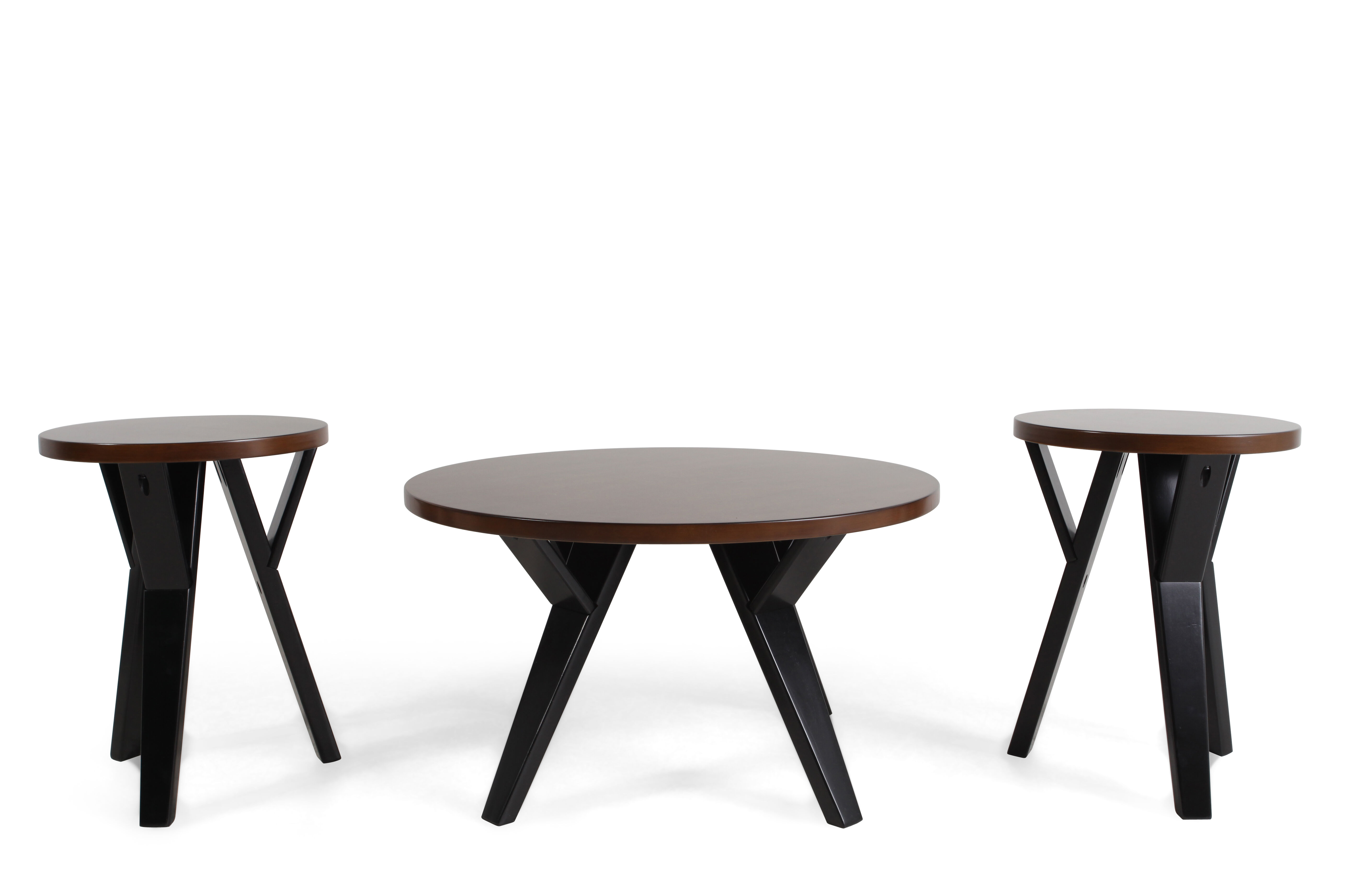 Three Piece Round Contemporary Table Set In Brown