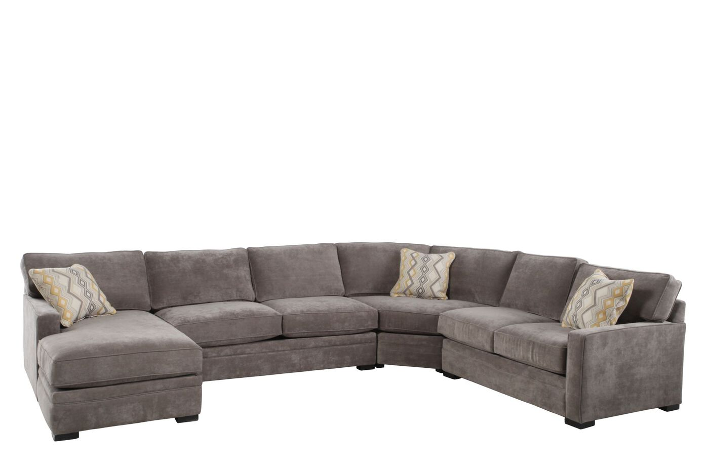 Four piece contemporary 150quot sectional in hazelnut for Sectional sofas mathis brothers