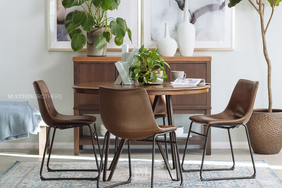Five-Piece Mid-Century Modern 45'' Round Dining Set in Brown