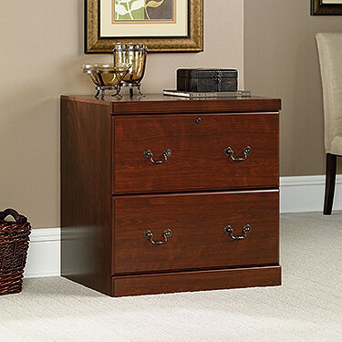 Two Drawer Transitional Lateral File Cabinet In Cherry ...