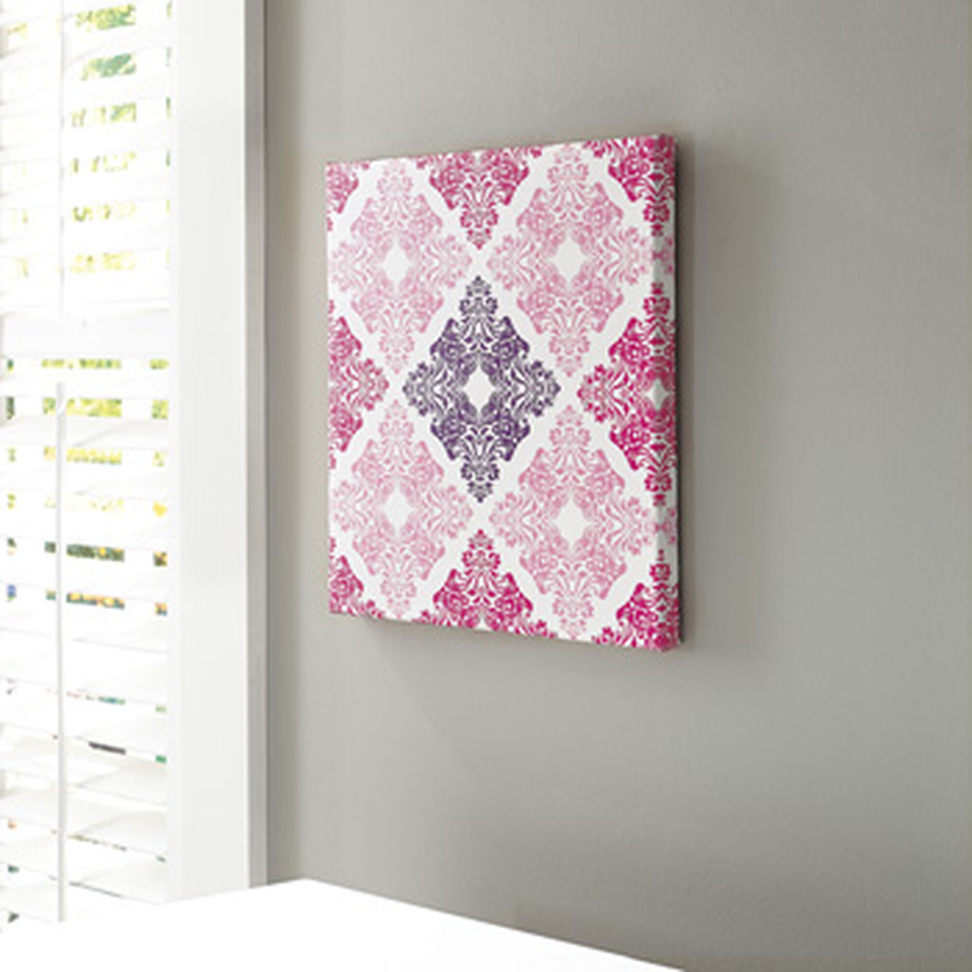 Purple Canvas Rug: Contemporary Patterned Design Canvas Wall Art In Pink