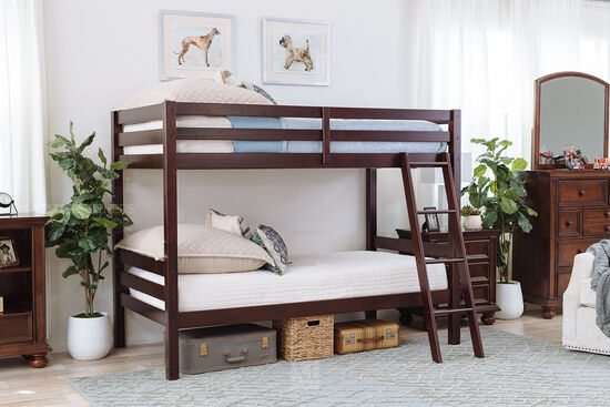 "61"" Contemporary Twin Over Twin Youth Bunk Bed in Dark Brown"