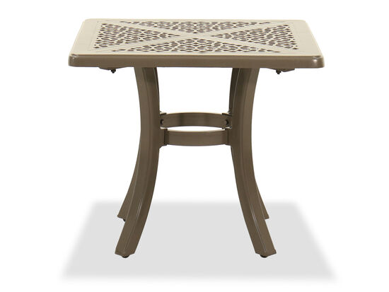 Square Cast Aluminium Patio End Table in Brown