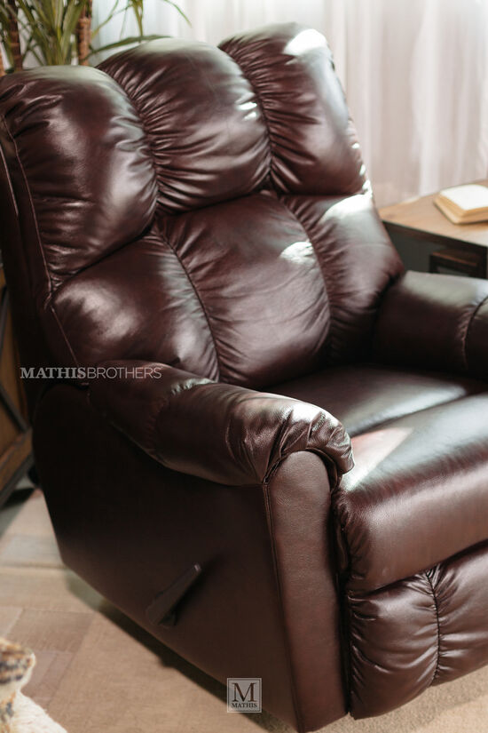 """Leather Contemporary 35"""" Rocker Reclinerin Brown"""