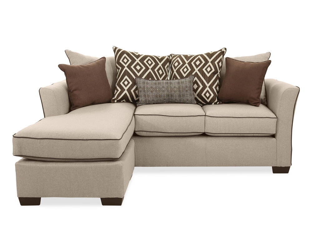 Transitional 86 sofa with chaise in stewart linen - Living room chairs for short people ...