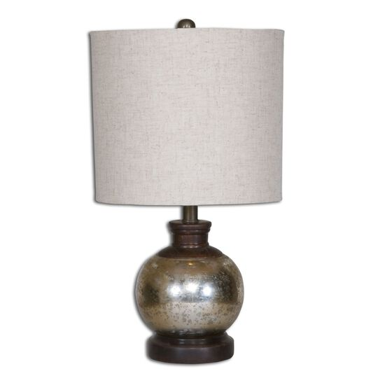 Mango Wood-Accented Mercury Glass Table Lamp