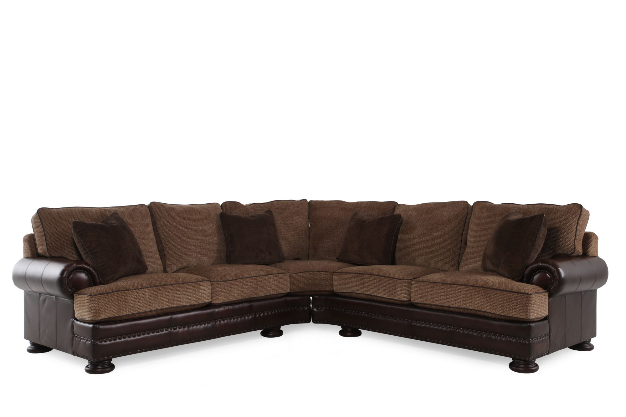 Two Piece Leather 204 Nailhead Trimmed