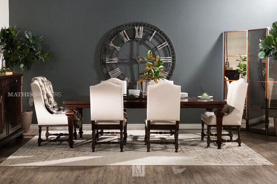 Two-Piece Turned Legs 43'' Side Chair Set in Dark Cream