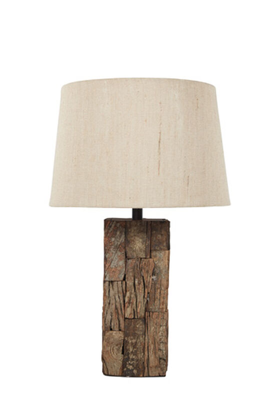 Casual Distressed Table Lamp in Brown