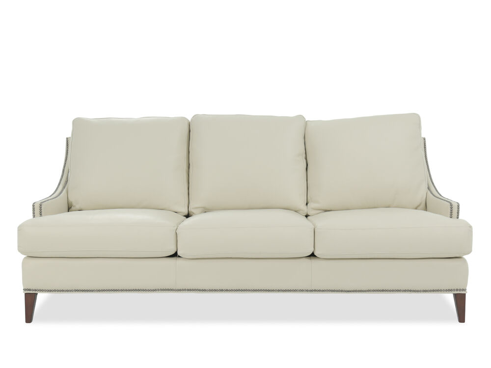 Leather Nailhead Accented Sofa In White Mathis Brothers