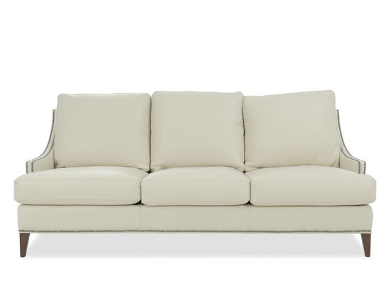 Leather Nailhead-Accented Sofa in White