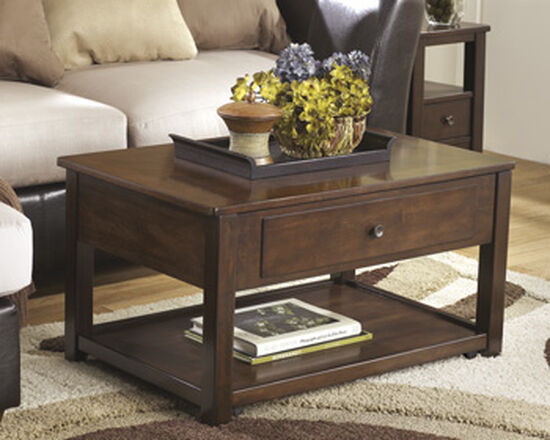 Lift-Top Rectangular Contemporary Cocktail Table in Dark Brown
