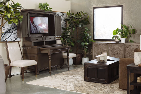 Medallion-Patterned Transitional Console in Brown