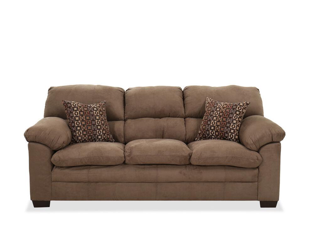 "Contemporary 86"" Pillow-Top Arm Sofa In Brown"