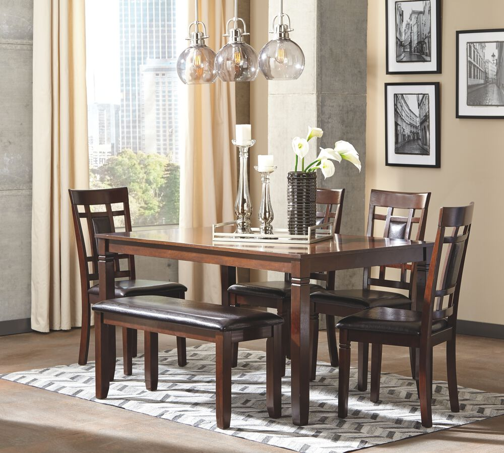 Six Piece Contemporary Dining Room Set In Brown Mathis Brothers Furniture