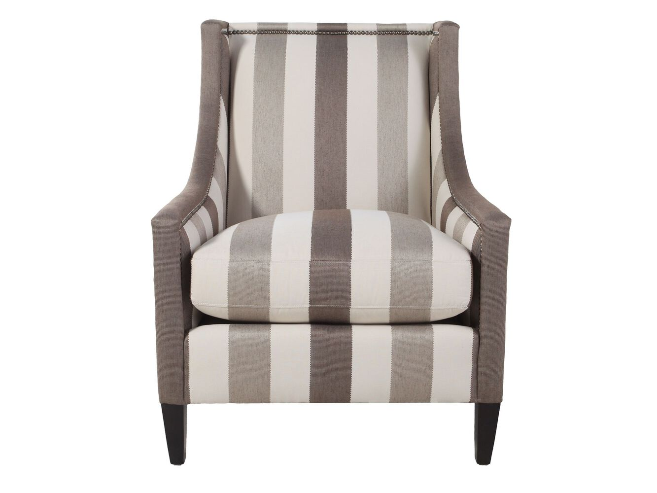 Nailhead Accented Striped Chair Mathis Brothers Furniture