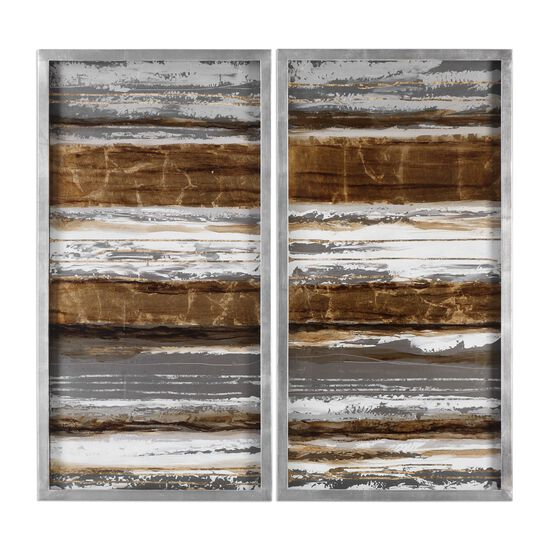 Two-Piece Hand Painted Metallic Layers Hardboard Art Set in Silver/Copper/Gold