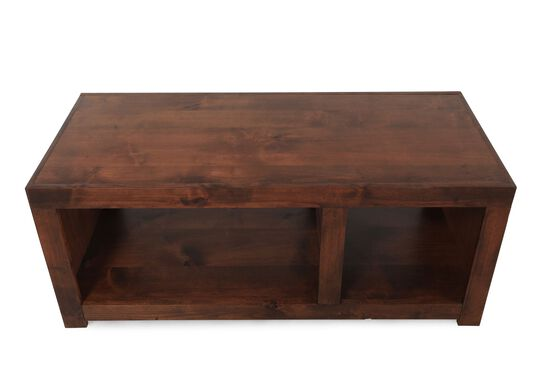 Contemporary Open-Compartment Cocktail Tablein Dark Fruitwood