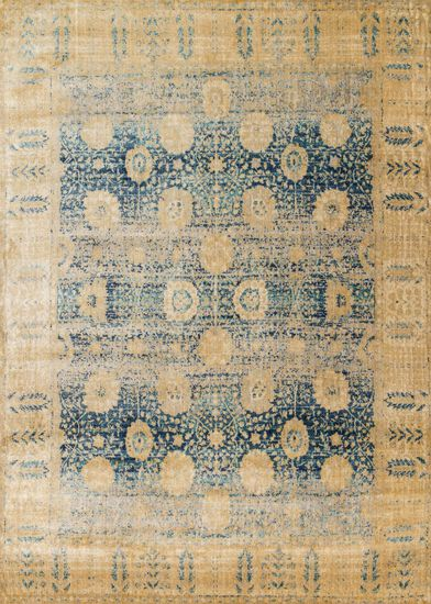 "Transitional 2'-7""x4' Rug in Blue/Gold"