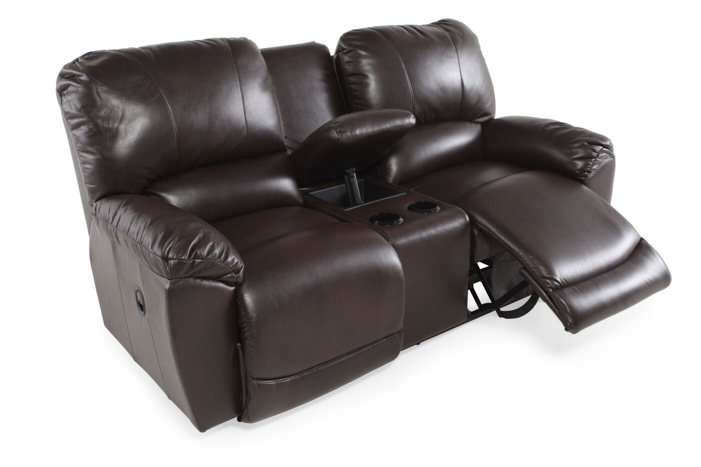 Dual Reclining Contemporary 86 Loveseat With Console In Mahagony Mathis Brothers Furniture