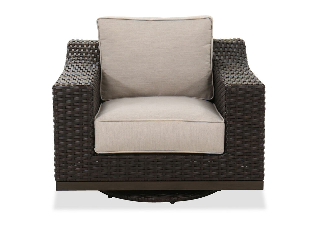 Contemporary Patio Swivel Club Chair in Brown