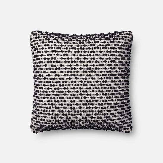 """18""""x18"""" Cover w/Poly Pillow in White/Black"""