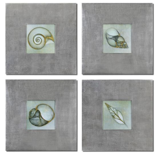 Four-Piece Metallic Accented Wall Art Set