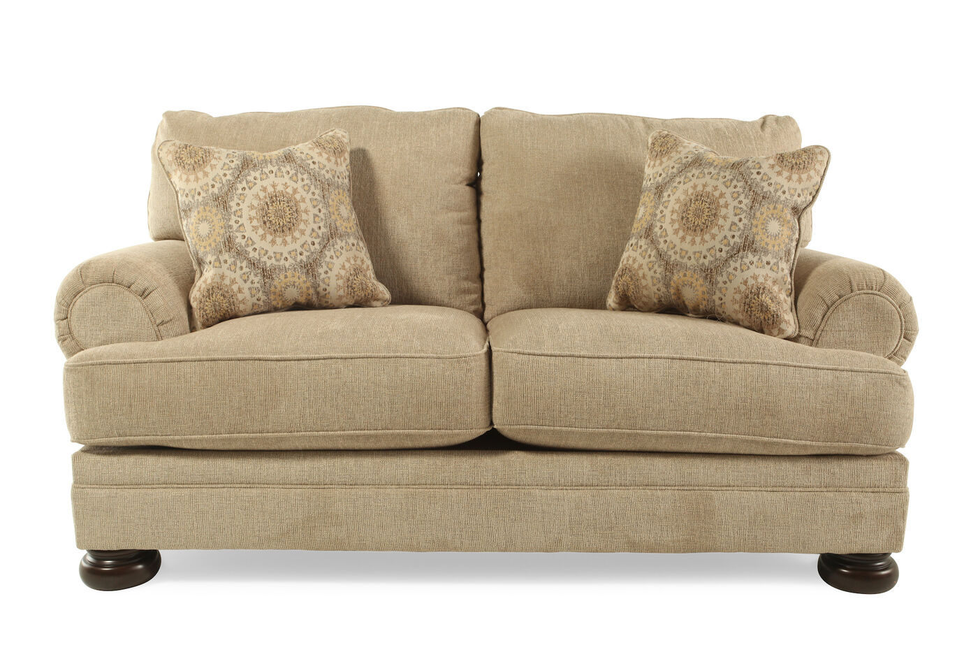 Textured Traditional 78 Loveseat In Beige Mathis Brothers Furniture