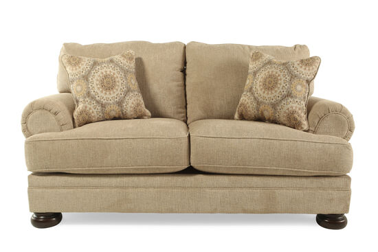 """Textured Traditional 78"""" Loveseat in Beige"""