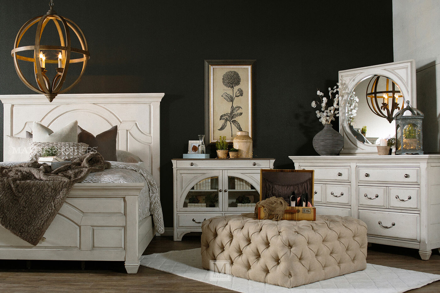 Distressed Ship Lap Cottage Panel Bed In Vintage White - Magnussen bedroom furniture reviews